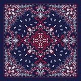 Wektorowy ornament Paisley, bandany druk, tkaniny szyi szalik lub chustka kwadrata wzoru pirata projekt, czaszek i ko?ci, ilustracji