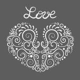 Wektorowy ornamentacyjny kwiecisty ornament Elegancja kształt serce ilustracja wektor