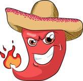 Wektorowy ostry chili pieprz w sombrero Zdjęcie Stock