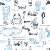 Wektorowy owoce morza tło Bezszwowy owoce morza tło Wektorowy Bezszwowy owoce morza tło odizolowywający na bielu w roczniku ilustracji