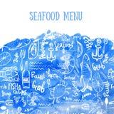 Wektorowy owoce morza tło Wektorowy owoce morza tło na błękitnej akwareli w nowożytnym stylu dla menu projekta, zawija ilustracja wektor
