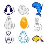 Wektorowy Północny zwierzęcy ustawiający na białym tle Royalty Ilustracja