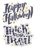 Wektorowy płaski Halloween literowania wycena projekta set z doodle elementami odizolowywającymi na białym tle Zdjęcie Stock