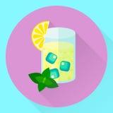 Wektorowy płaski ikony cytryny mennicy koktajl, szkło, lód ilustracji
