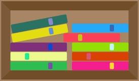 Wektorowy płaski kolorowy półka na książki układ fotografia royalty free