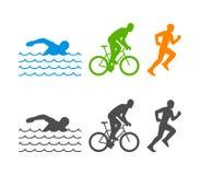 Wektorowy płaski loga triathlon Oblicza triathletes na białym tle Obrazy Stock