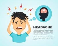 Wektorowy płaski mężczyzna z migreną, współczucia zmęczenie, a z chorobą głowa, urzędnik trzyma jego głowę z jego ręką Obrazy Royalty Free