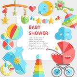 Wektorowy płaski niemowlęctwa bacground Dziecko produkty Dekoraci rama, ilustracja wektor
