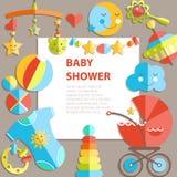 Wektorowy płaski niemowlęctwa bacground Dziecko produkty Dekoraci rama, royalty ilustracja