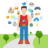 Wektorowy płaski podróży turystyki i socjalny interneta medialny kolaż Obraz Stock
