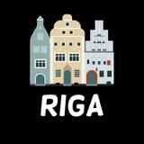 Wektorowy płaski projekt sławni budynki w Ryskim, Latvia Ilustracji