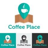 Wektorowy płaski sklep z kawą lub kawiarni loga set Zdjęcia Stock