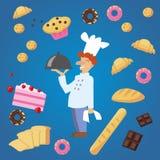 Wektorowy płaski uśmiechnięty piekarz z latanie piekarni produktami Ilustracja Wektor