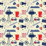 Wektorowy płaski bezszwowy wzór z kinowymi atrybutami Zdjęcie Royalty Free