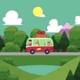 Wektorowy płaski camping, wycieczki samochodowej scena Zdjęcie Royalty Free