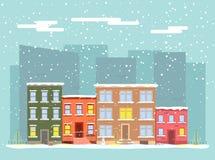 Wektorowy płaski miasto w zimie Fotografia Royalty Free