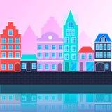 Wektorowy płaski miastowy krajobraz Obrazy Royalty Free