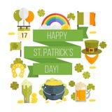 Wektorowy płaski plakat dla StPatricks dnia Zdjęcia Stock