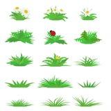 Wektorowy płaski trawa set royalty ilustracja