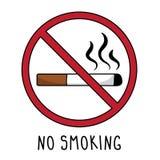 Wektorowy palenie zabronione symbolu znaka doodle ręki rysunek pojedynczy białe tło ilustracji