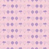 Wektorowy pastelowych menchii gorącego powietrza balonów powtórki horyzontalny bezszwowy wzór royalty ilustracja