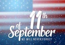 Wektorowy patriota dnia plakat Papierowy Piszący list Wrzesień 11th na Realistycznym flaga amerykańskiej tle z confetti Zdjęcie Stock