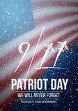 Wektorowy patriota dnia plakat Września 11th tragadiego plakat na flaga amerykańskiej tle Obrazy Royalty Free
