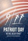 Wektorowy patriota dnia plakat Września 11th 2001 tragadiego plakat na flaga amerykańskiej tle Obraz Stock