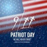 Wektorowy patriota dnia plakat Września 11th 2001 tragadiego plakat na flaga amerykańskiej tle Zdjęcie Stock