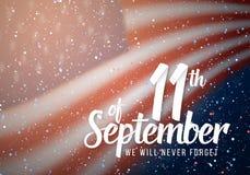 Wektorowy patriota dnia plakat Września 11th 2001 Papierowy literowanie na Zamazanej usa flaga Obrazy Stock
