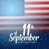 Wektorowy patriota dnia plakat Września 11th 2001 Papierowy literowanie na Zamazanym usa flaga tle z confetti Obrazy Royalty Free