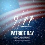 Wektorowy patriota dnia plakat Września 11th tragadiego Krajowy plakat na usa flaga Ilustracja Wektor