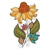 Wektorowy Piękny Barwiony Konturowy kwiat ilustracja wektor