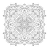 Wektorowy Piękny Deco monochromu konturu kwadrat ilustracji