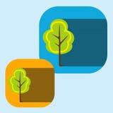 Wektorowy piękny ikony mieszkanie kwitnie drzewa eps ilustracji