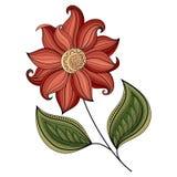 Wektorowy Piękny Barwiony Konturowy kwiat Obrazy Royalty Free