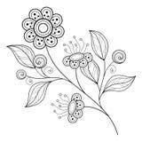Wektorowy Piękny monochromu konturu kwiat ilustracji