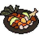 Wektorowy piksel sztuki jedzenia azjata ilustracja wektor