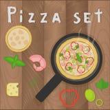 Wektorowy pizzy marinara ustawiający na drewnianym tle w mieszkanie stylu Pizza składniki, garnele, pieprz, basil, oliwka, warzyw Ilustracji