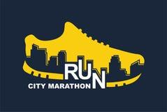 Wektorowy plakat - biegać, sporta but i miasto kontur, ilustracji