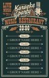 Wektorowy plakat dla muzycznej restauracji z muzyk? na ?ywo royalty ilustracja