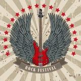 Wektorowy plakat dla rockowego festiwalu z oskrzydloną gitarą ilustracji