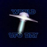Wektorowy plakat dla światowego ufo dnia z obcego statkiem kosmicznym Zdjęcie Royalty Free