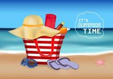 Wektorowy plakat ja ` s lata czas z morzem i plaża elementami Zdjęcie Royalty Free
