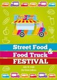 Wektorowy plakat z furgonem pełno smakowity lata jedzenie, posiłki, napoje i owoc, ilustracji