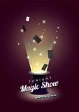 Wektorowy plakat z magika kapeluszem z latanie kartami i magiczną różdżką royalty ilustracja