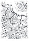 Wektorowy plakatowy mapy miasto Amsterdam Obrazy Royalty Free