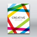 Wektorowy Plakatowy ulotka szablon Abstrakcjonistyczny kolorowy lampasa tło dla Biznesowych ulotek, plakatów i plakatów, Broszurk Zdjęcia Royalty Free