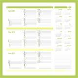 Wektorowy planista dla 20134, Trzy miesięcy calendar5 - Obraz Stock