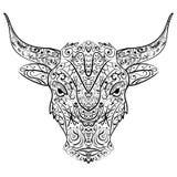 Wektorowy Plemienny Dekoracyjny byk Odosobniony zwierzę Na tle Zentangle styl Zdjęcia Royalty Free
